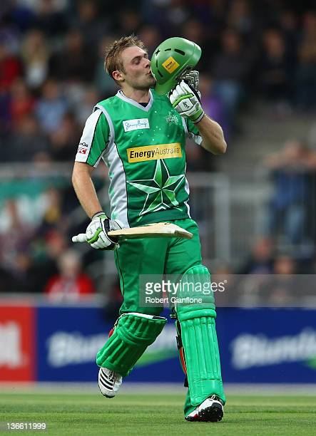 Luke Wright of the Stars celebrates scoring his onehundred runs during the T20 Big Bash League match between the Hobart Hurricanes and the Melbourne...