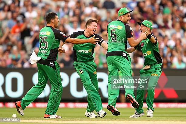 Luke Wright of the Stars celebrates with teammates after running out Daniel Christian of the Hurricanes during the Big Bash League match between the...