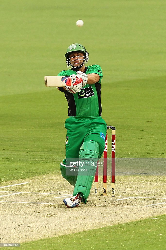 Luke Wright of the Stars hits the ball during the Big Bash League semi-final match between the Perth Scorchers and the Melbourne Stars at the WACA on January 16, 2013 in Perth, Australia.