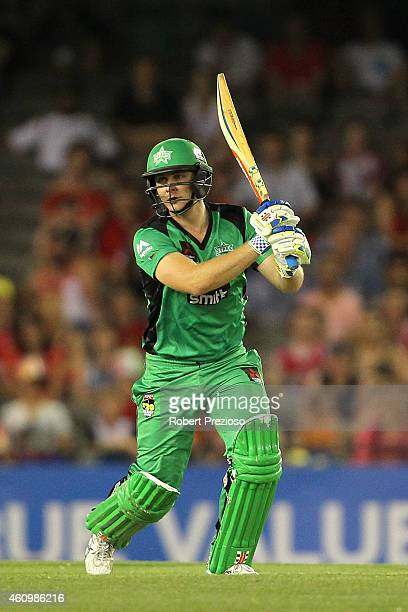 Luke Wright of the Stars plays a shot during the Big Bash League match between the Melbourne Renegades and the Melbourne Stars at Etihad Stadium on...