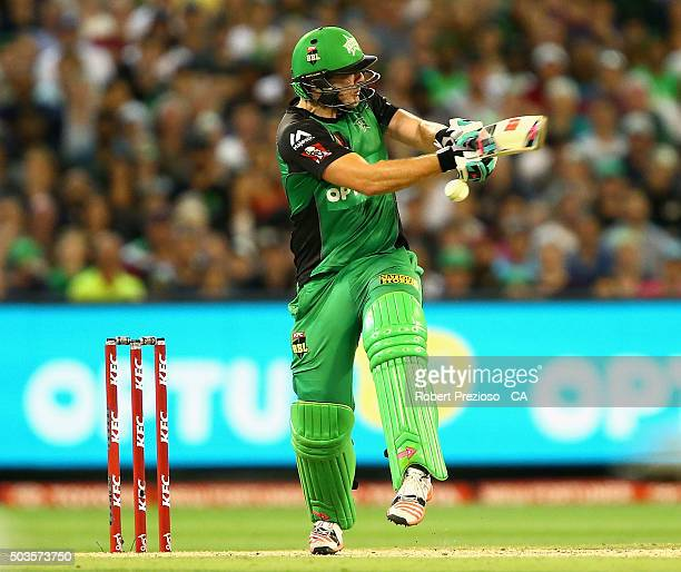 Luke Wright of the Stars plays a shot during the Big Bash League match between the Melbourne Stars and the Hobart Hurricanes at Melbourne Cricket...