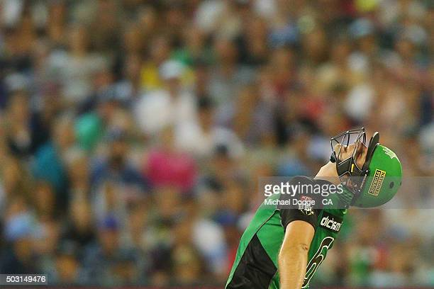 Luke Wright of the Stars reacts after missing a shot during the Big Bash League match between the Melbourne Stars and the Melbourne Renegades at...