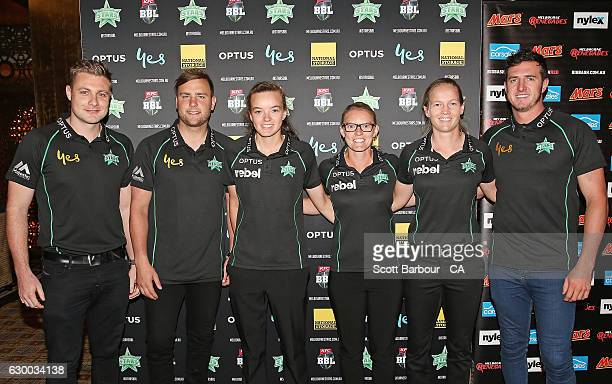 Luke Wright Tom Triffitt Makinley Blows Kristen Beams Meg Lanning and Daniel Worrall of the Stars BBL and WBBL teams attend the Melbourne Stars...