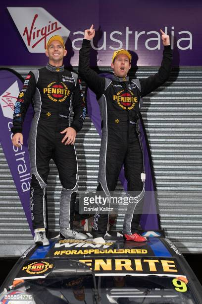 Luke Youlden driver of the Erebus Motorsport Penrite Racing Holden Commodore VF and David Reynolds driver of the Erebus Motorsport Penrite Racing...