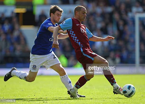 Luke Young of Aston Villa beats Seamus Coleman of Everton during the Barclays Premier League match between Everton and Aston Villa at Goodison Park...
