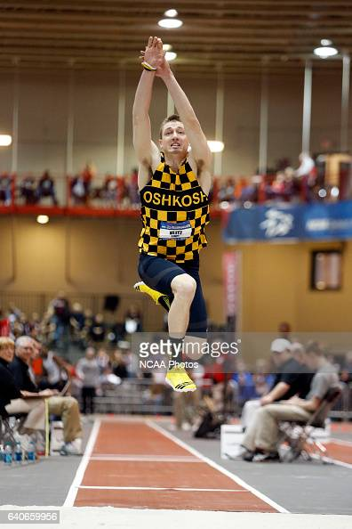 Lukey Klitz of Wisconsin Oshkosh reaches for more distance in the Men's triple jump at the Division III Men's and Women's Indoor Track and Field...