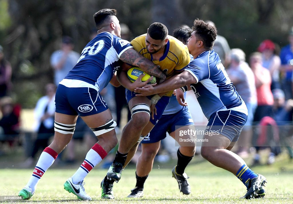 Lukhan Lealaiauloto-Tui of Brisbane City takes on the defence during the round two NRC match between Queensland Country and Brisbane on September 9, 2017 in Noosa, Australia.