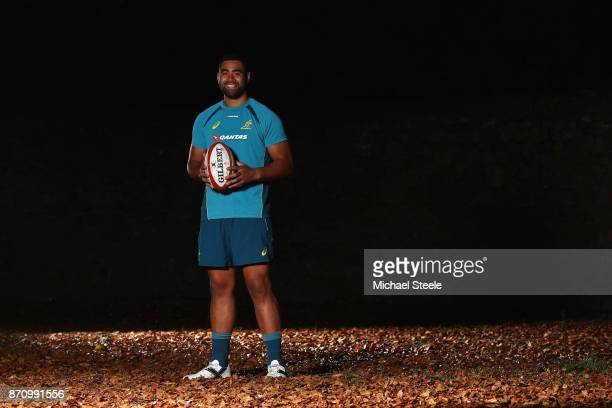 Lukhan Tui poses for a portrait following the Australia rugby training session at Sport Wales on November 6 2017 in Cardiff Wales