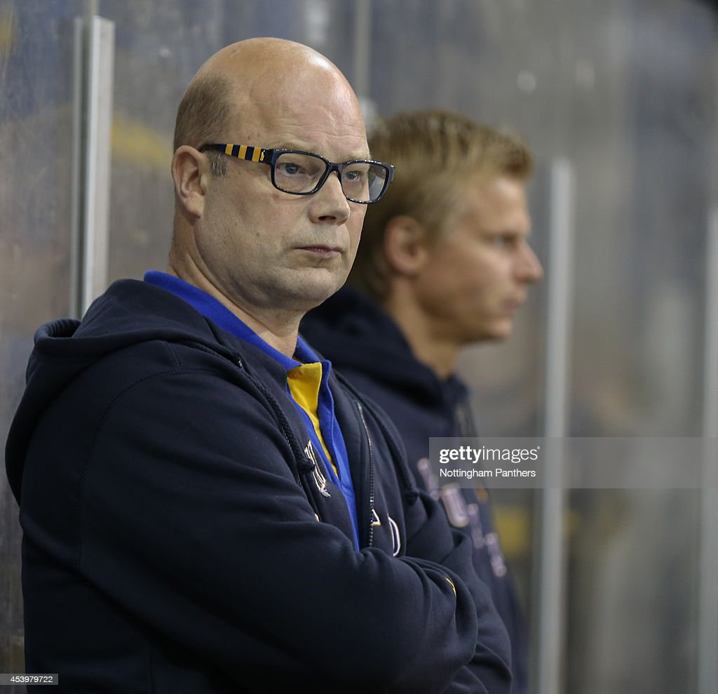 Lukko Rauma Head Coach Risto Dufva during the Champions Hockey League group stage game at the National Ice Centre in Nottingham, between Nottingham Panthers and Lukko Rauma on August 22, 2014 in Nottingham, United Kingdom.