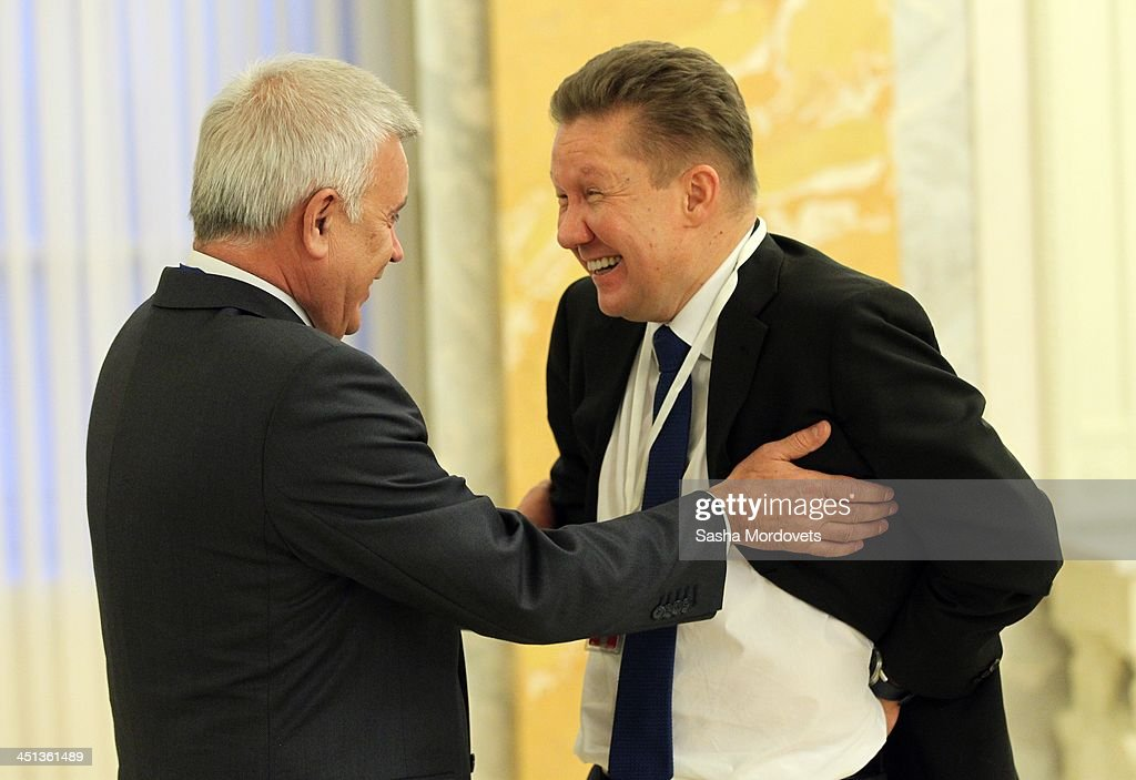 LUKoil President Vagir Alekperov (L) talks with Gazprom CEO <a gi-track='captionPersonalityLinkClicked' href=/galleries/search?phrase=Alexei+Miller&family=editorial&specificpeople=713081 ng-click='$event.stopPropagation()'>Alexei Miller</a> (R) as they attend the High-Level Russian-Turkish Cooperation Council meeting in the Konstantin Palace on November 22, 2013 in Saint Petersburg, Russia. Erdogan is on a two-day official visit to Saint Petersburg to attend the fourth session of the Russian-Turkish High-Level Cooperation Council with Russian President Vladimir Putin. The two leaders are expected to discuss economic development and cooperation, with the Syrian Crisis expected to be top the agenda.