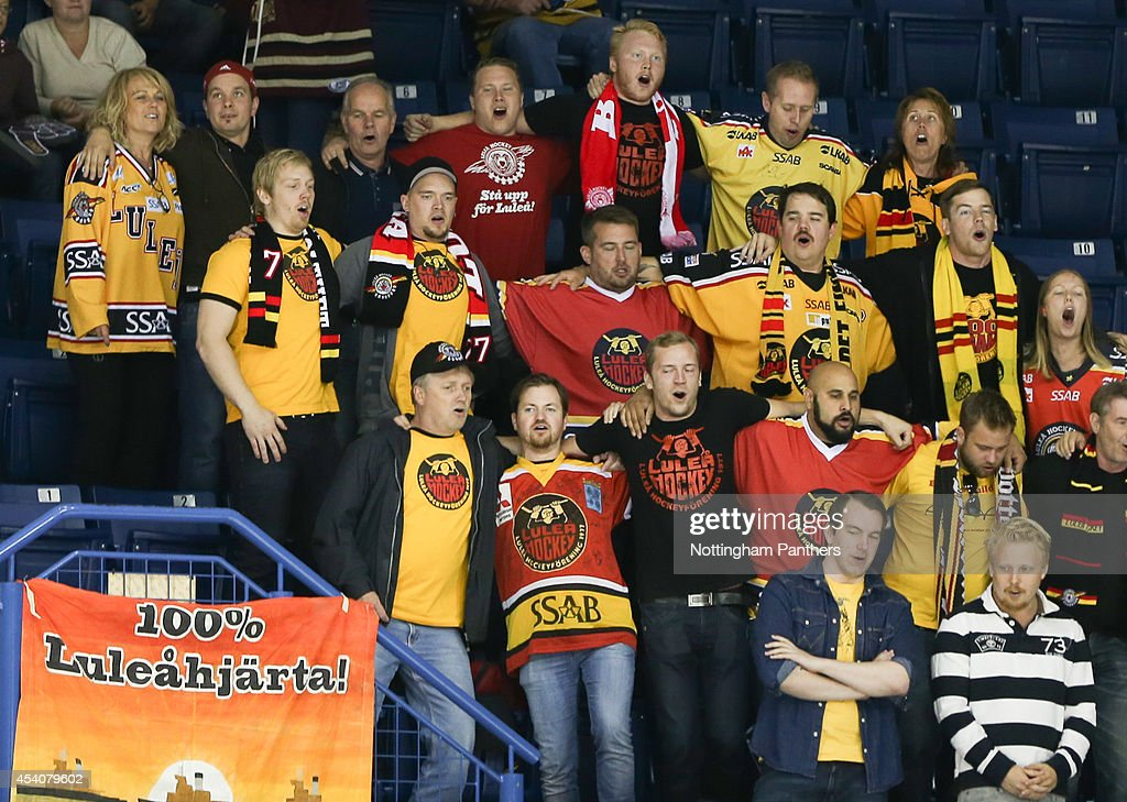 Lulea fans celebrate towards the end of the the Champions Hockey League group stage game between Nottingham Panthers and Lulea Hockeyat at the National Ice Centre on August 24, 2014 in Nottingham, England.