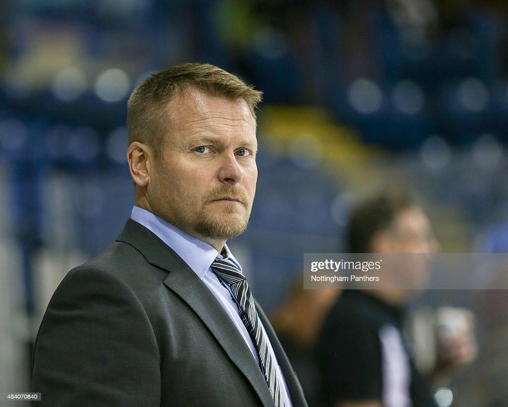 Lulea Hockeyat Coach Joakim Fagervall looks on before the start of the Champions Hockey League group stage game between Nottingham Panthers and Lulea Hockeyat at the National Ice Centre on August 24, 2014 in Nottingham, England.