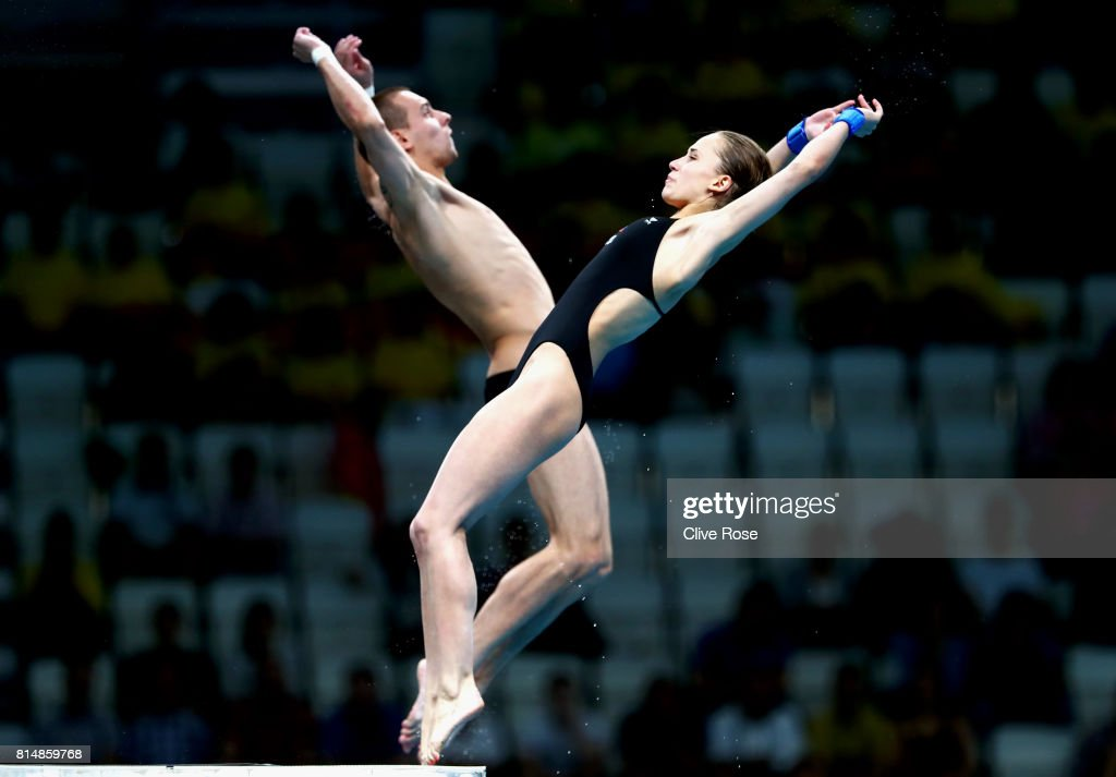 Luliia Timoshinina and Viktor Minibaev of Russia competes during the Mixed Diving 10m Synchro Platform Final on day two of the Budapest 2017 FINA World Championships on July 15, 2017 in Budapest, Hungary.