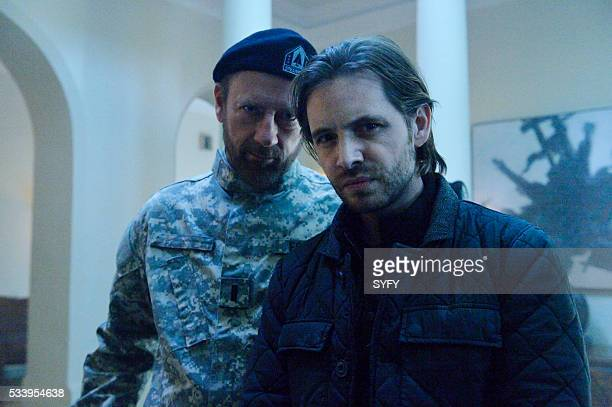 12 MONKEYS 'Lullaby' Episode 208 Pictured Xander Berkeley as Colonel Jonathan Foster Aaron Stanford as James Cole
