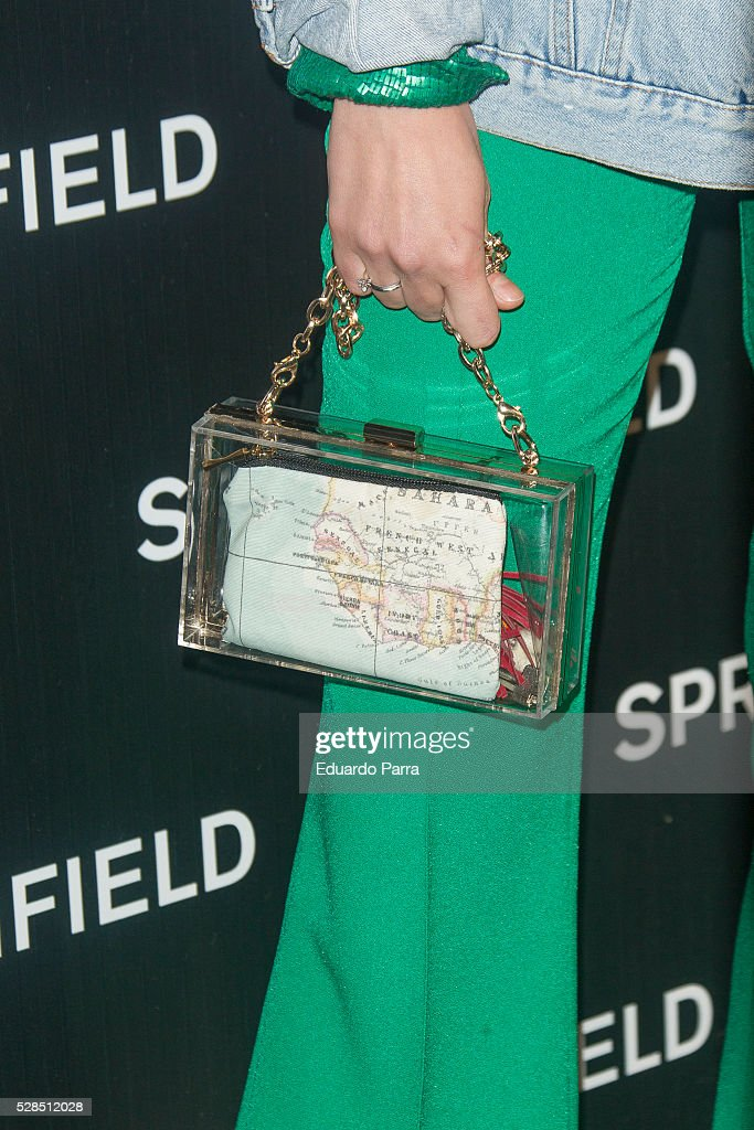Lulu Figueroa, bag detail, attends the Springfield fashion film presentation photocall at Fortuny palace on May 05, 2016 in Madrid, Spain.