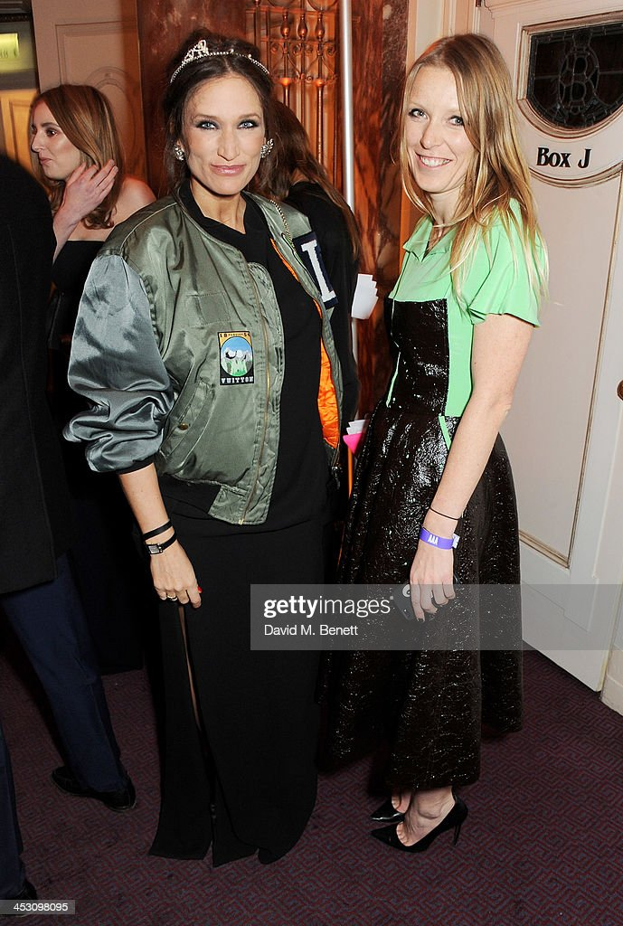 Lulu Kennedy and guest attend the British Fashion Awards 2013 drinks reception at the London Coliseum on December 2 2013 in London England