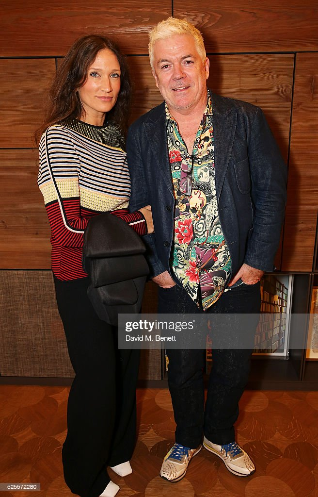 Lulu Kennedy and Tim Blanks attend the BFC Fashion Trust x Farfetch cocktail reception on April 28 2016 in London England