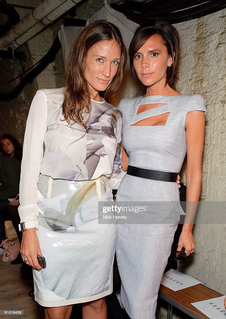 Lulu Kennedy and Victoria Beckham attend the Fashion East show at London Fashion Week Spring/Summer 2010 at Somerset House on September 22 2009 in...