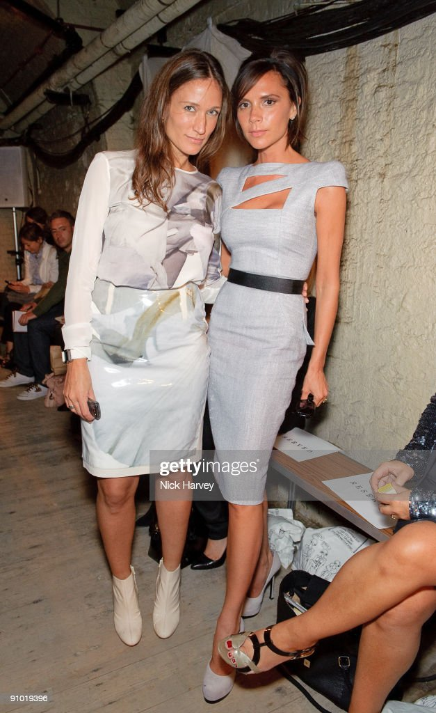 Lulu Kennedy and Victoria Beckham attends the Fashion East show at London Fashion Week Spring/Summer 2010 at Somerset House on September 22 2009 in...