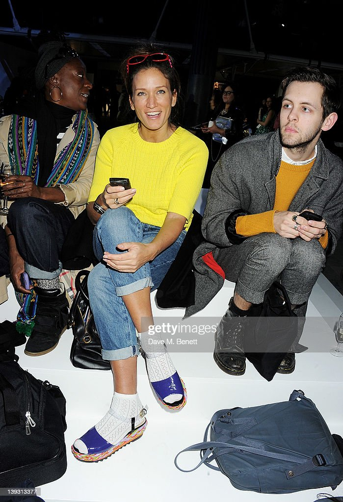 Lulu Kennedy sit in the front row at the Unique Autumn/Winter 2012 show during London Fashion Week at TopShop Venue on February 19 2012 in London...