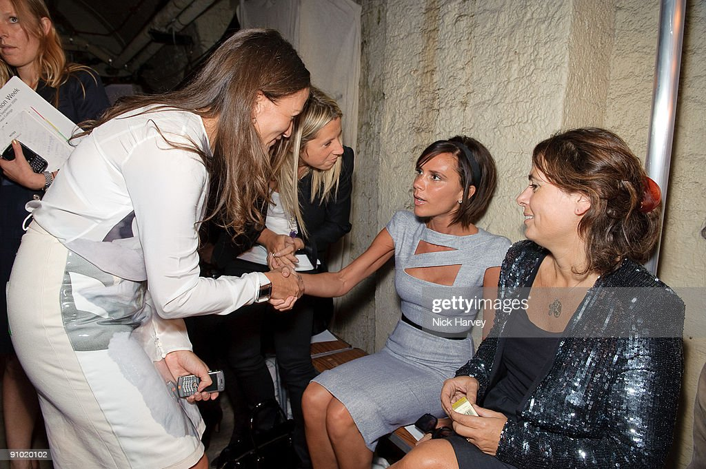 Lulu Kennedy Victoria Beckham and Alexandra Shulman attend the Fashion East show at London Fashion Week Spring/Summer 2010 at Somerset House on...