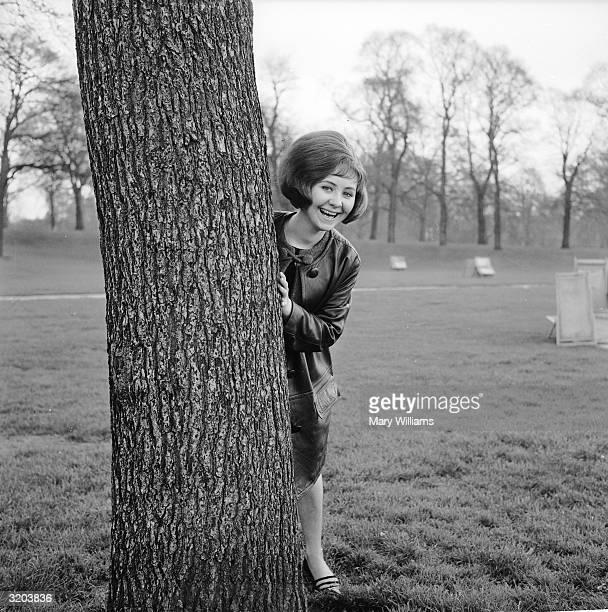 Lulu peering from behind a tree trunk in Hyde Park London