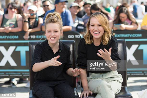 Lulu Wilson and Talitha Bateman visit 'Extra' at Universal Studios Hollywood on August 11 2017 in Universal City California