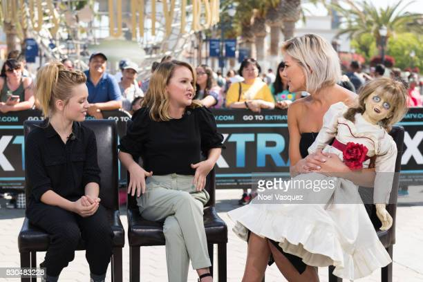 Lulu Wilson Talitha Bateman and Charissa Thompson visit 'Extra' at Universal Studios Hollywood on August 11 2017 in Universal City California