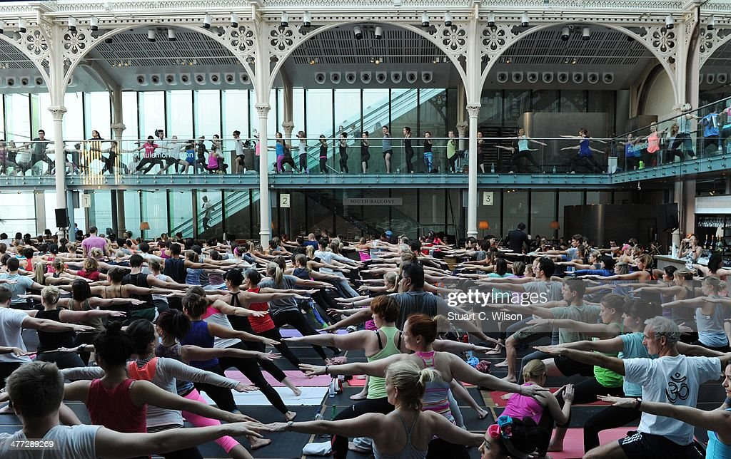 Lululemon athletica host a 400 person Yoga Class at the Royal Opera House in Covent Garden to celebrate their first London store opening on the 28th...