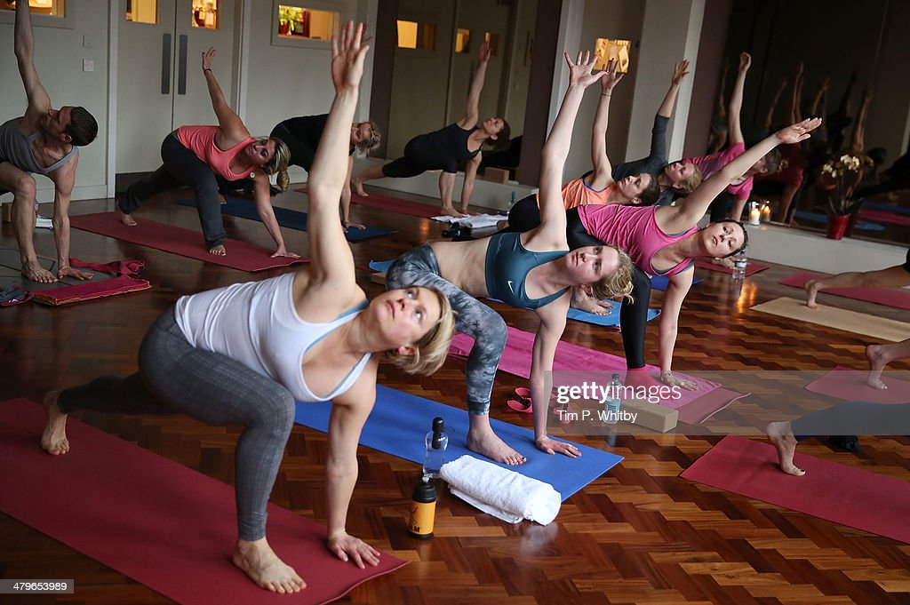 lululemon athletica host complimentary yoga classes all over London on March 20 2014 in London England in celebration of it's first store opening in...