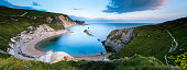 Panoramic of Lulworth Cove on the Jurassic Coast in Devon, UK