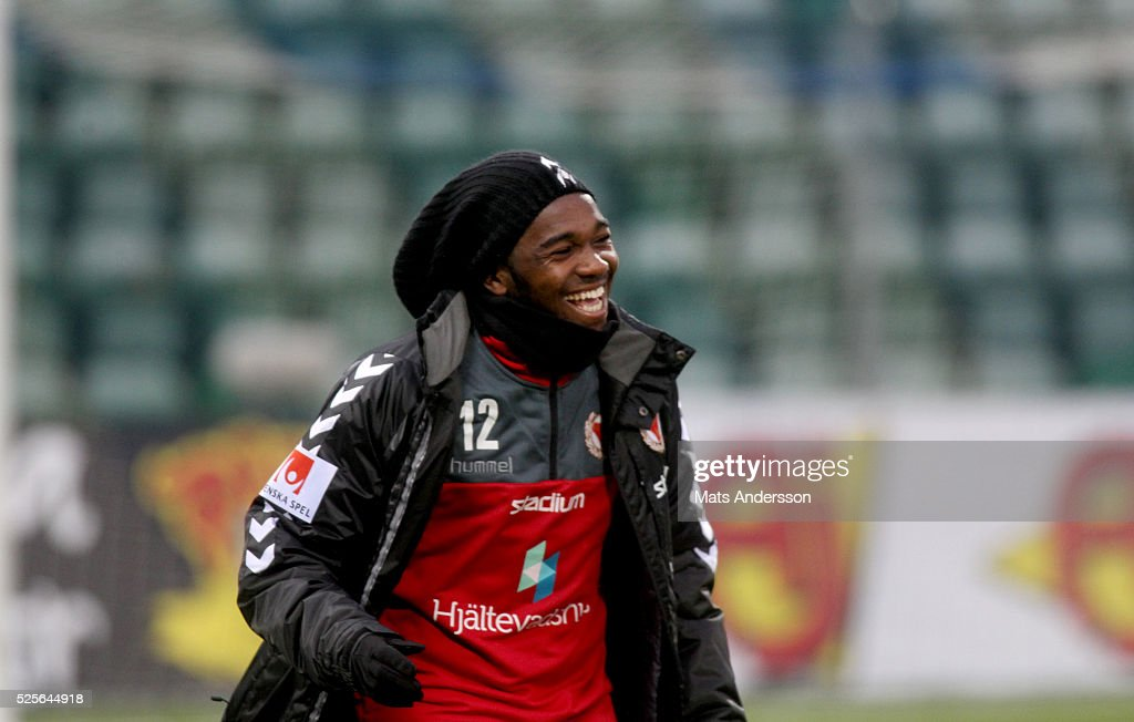 Lumala Abdu of Kalmar FF during the Allsvenskan match between GIF Sundsvall and Kalmar FF at Norrporten Arena on April 28, 2016 in Sundsvall, Sweden.