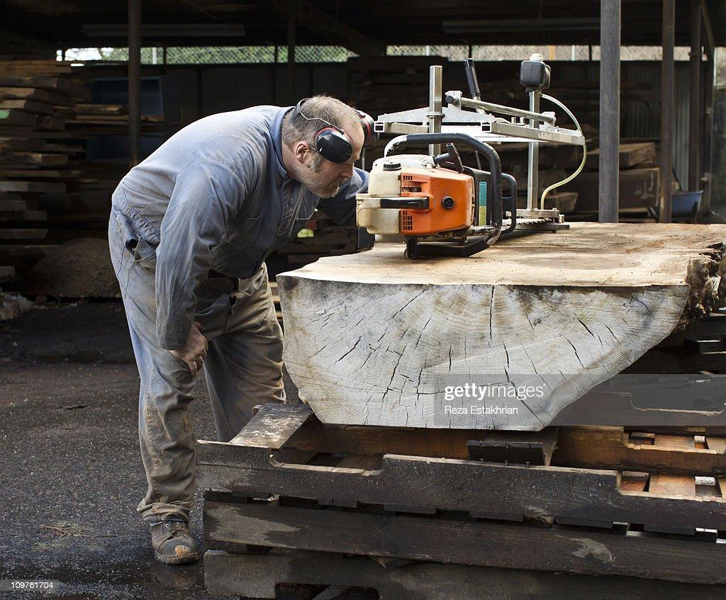 Lumber man checks chain saw : Stock Photo