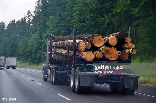 lumber truck on the highway