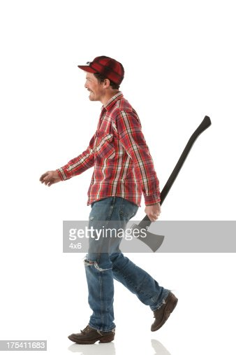 Lumberjack carrying an axe