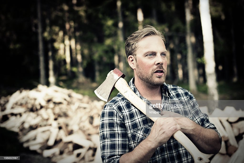 Lumberjack with axe : Stock Photo