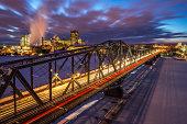 Luminous Alexandra Bridge in winter