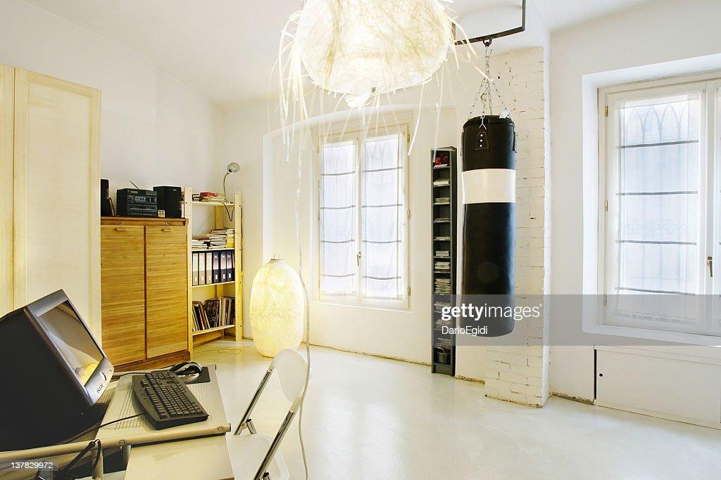 Luminous Office Room, Punching Bag, Rice Paper Lamp : Stock Photo