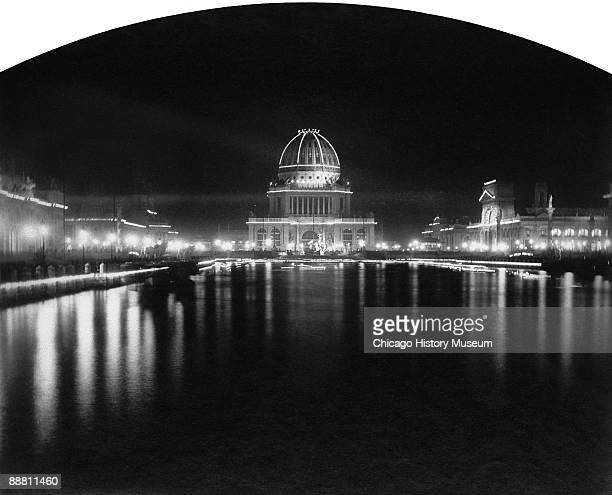 Luminous view of the Administration Building at night from the Chicago World's Columbian Exposition or Chicago World's Fair 1893