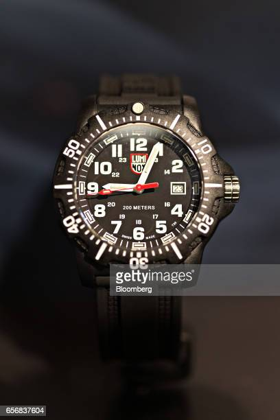 A Luminox Navy Seal Colormark Series model wristwatch produced by Mondaine Watch Ltd stands on display at the company's booth during the 2017...