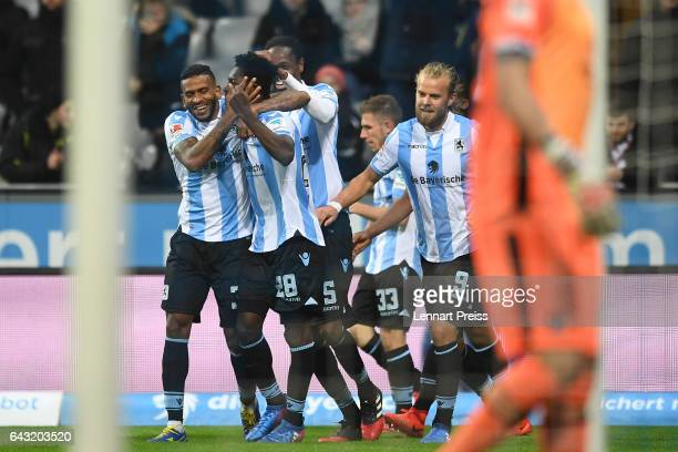 Lumor and his teammates of TSV 1860 Muenchen celebrate their side's second goal during the Second Bundesliga match between TSV 1860 Muenchen and 1 FC...