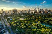 Lumpini park in center of Bangkok city, Thailand