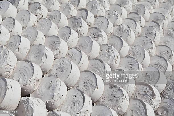 Lumps of drying marl or marlstone, Hin Song Kon village, Lopburi, Thailand, Asia