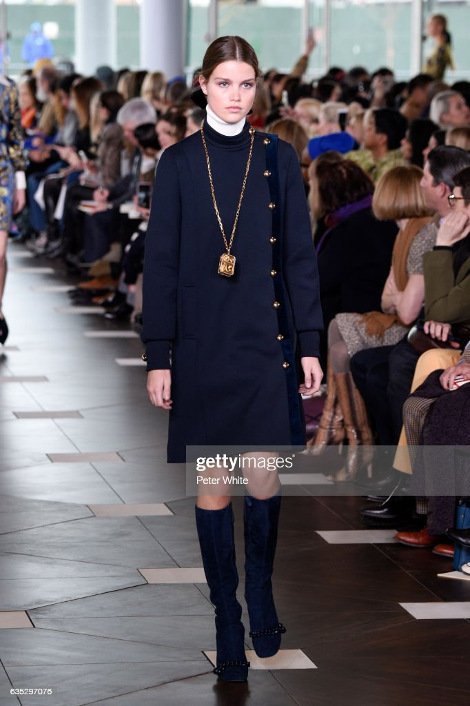 Luna Bijl walks the runway at the Tory Burch FW17 Show during New York Fashion Week at at The Whitney Museum of American Art on February 14, 2017 in New York City.