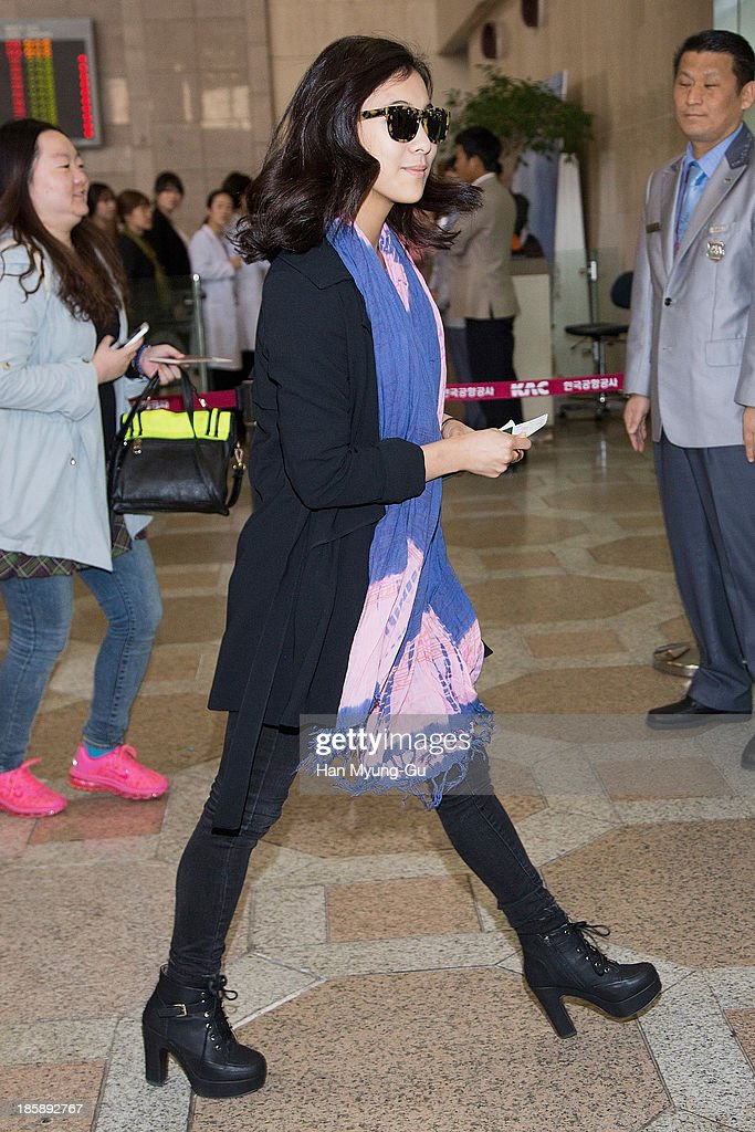 Luna of girl group f(x) is seen on departure at Gimpo International Airport on October 25, in Seoul, South Korea.