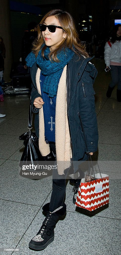Luna of South Korean girl group f(x) is seen at Incheon International Airport on December 23, 2012 in Incheon, South Korea.