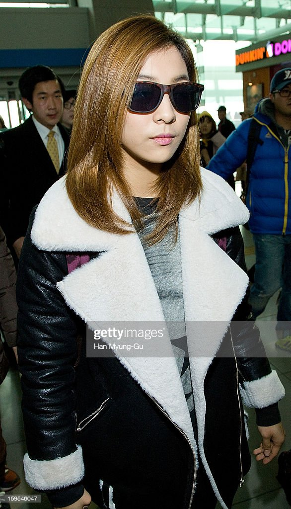 Luna of South Korean girl group f(x) is seen at Incheon International Airport on January 15, 2013 in Incheon, South Korea.