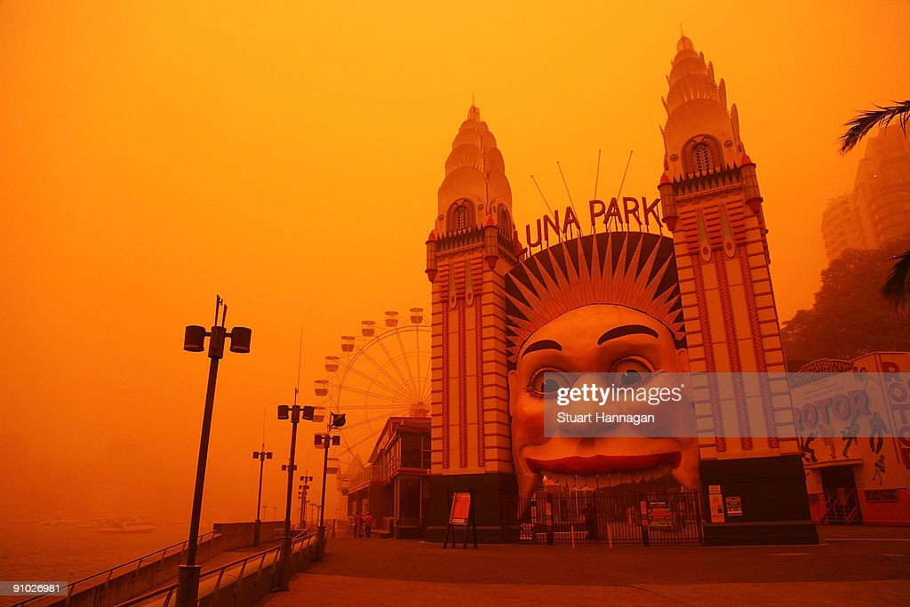 Luna Park is seen on September 23, 2009 in Sydney, Australia. Severe wind storms in the west of New South Wales have blown a dust cloud that has engulfed Sydney and surrounding areas.