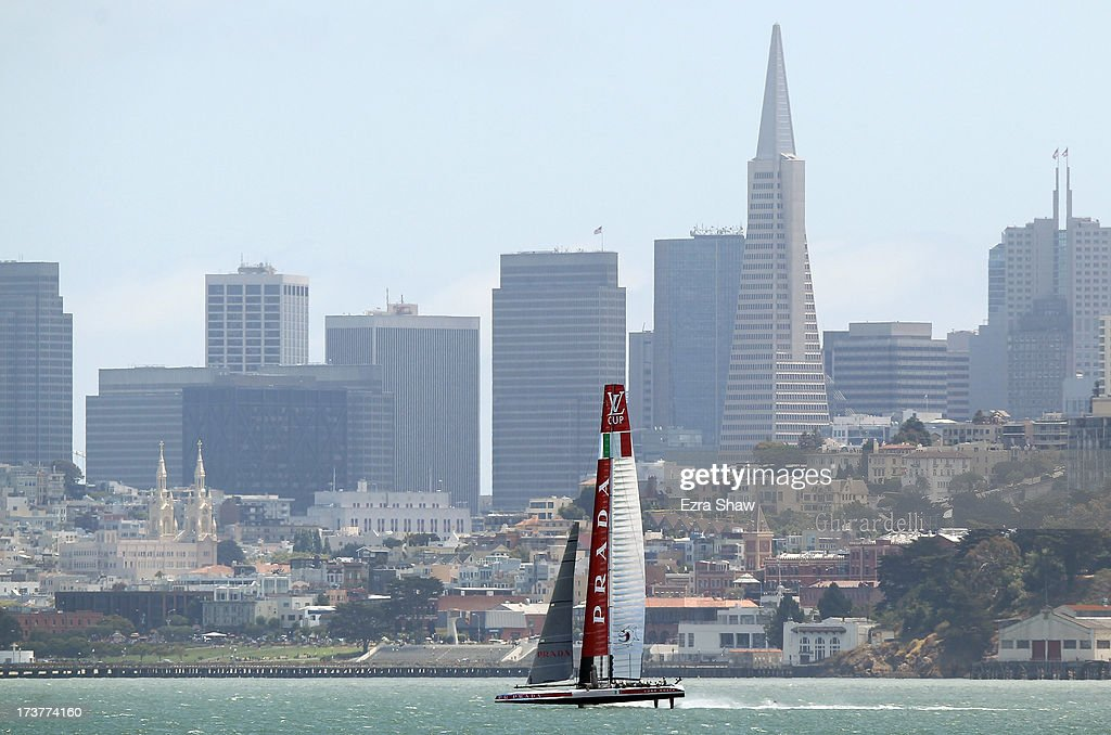 Luna Rossa Challenge makes its way past the San Francisco skyline while training for the America's Cup sailing event on July 17, 2013 in San Francisco, California. Emirates Team New Zealand is currently competing in the Louis Vuitton Cup. The winner of the Louis Vuitton Cup goes on to race against Oracle Team USA in the America's Cup Finals that start on September 7.