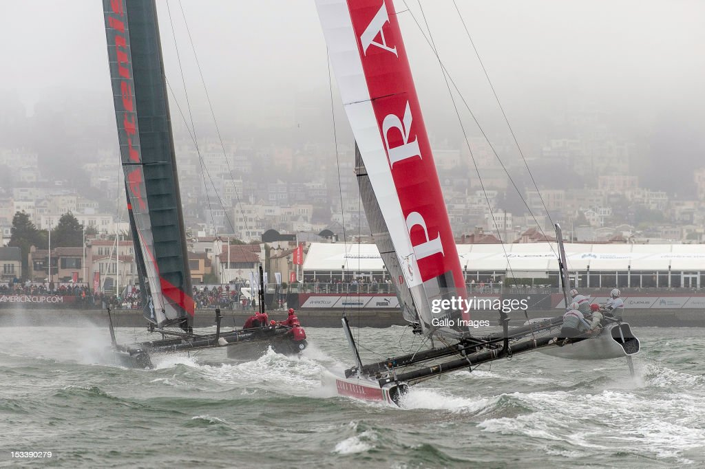 Luna Rossa Challenge Swordfish of Italy by Iker Martinez de Lizarduy against Artemis Racing Red of Sweden skippered by Nathan Outteridge during the America's Cup World Series Qualifying round on 03 October, 2012, in San Francisco, California.